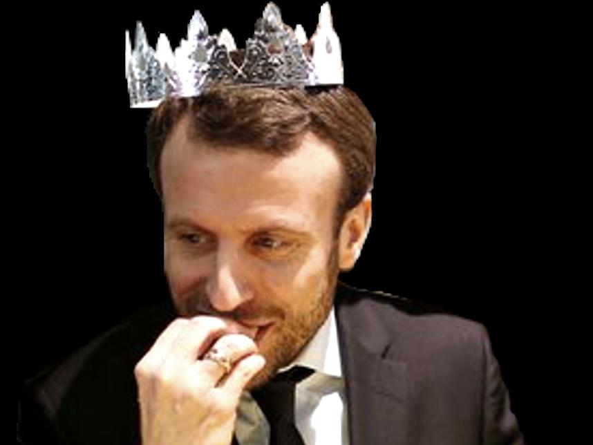 Sticker macron roi president en marche emmanuel mange main bouche barbe sourire couronne galette politique politicien
