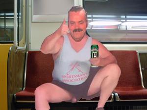 Sticker risitas manspreading biere metro
