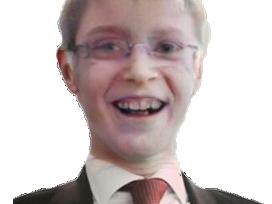 Sticker politic henry de lesquen jeune enfant rire cosmopolite congoide faceapp