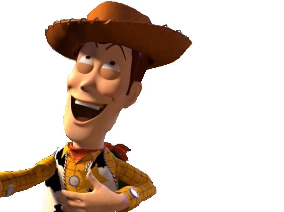 Sticker jvc woody toys story cowboy rire arriere moquerie cinema buzz