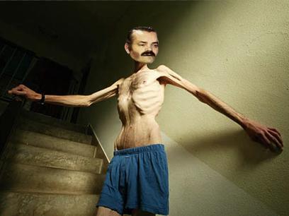 Sticker maigre phasme anorexique fragile crevette babtou risitas jesus issou os squelette sueur sec victime escalier escaliers calecon short sombre dark