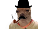 Sticker risitas chien classe monocle