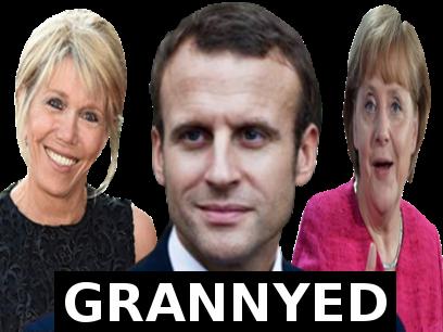 Sticker politic macron merkel brigitte blacked grannyed vieille moche president france allemagne europe