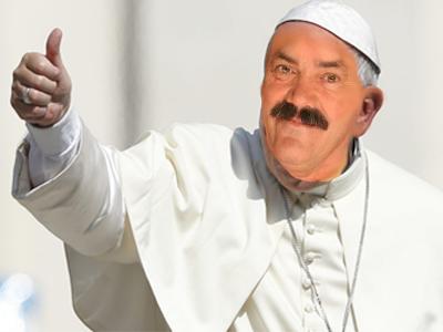 Sticker pape pope risitas religion blanc vieux vatican pouce chretien saint