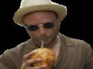 Sticker risitas alkpote alk boit boire noix de coco paille chapeau rap fr