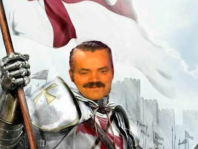 Sticker croisade chevalier armure casque risitas guerre drapeau lance chateau templier jap kikoo kikoo jap anime sourire