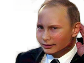 Sticker politic vladimir poutine putin oreille entend main jeune enfant bebe faceapp