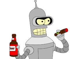 Sticker other bender futurama parle fume cigare biere