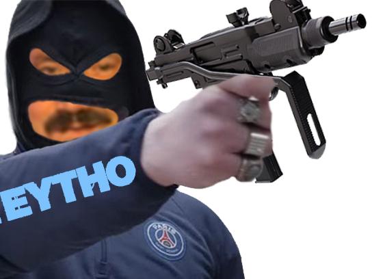Sticker risitas kalash criminel zieytho gun arme uzi