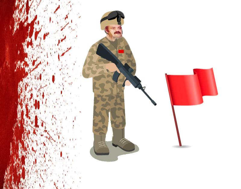 Sticker pixel canvas front rouge risitas