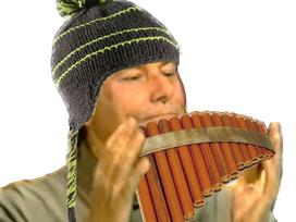 Sticker risitas jesus flute pan bonnet peruvien hippie mains instrument musique music pipo pipeau menteur mensonge fake