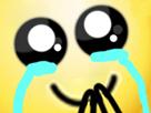 Sticker jvc bonhomme jaune zoom content larmes pleurs joie heureux joyeux
