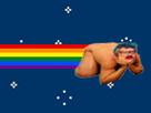 Sticker risitas cheveux bleus feminazi feministe nyan cat lgbt sjw gauchiasse progres