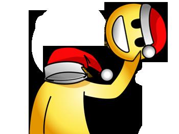 Sticker jvc bonhomme jaune bonnet noel inverse sourire