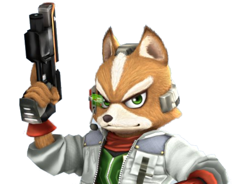 Sticker other starfox fox mc cloud super smash bros brawl ssbb wii determine pret fier sourire pistolet laser flingue renard furry viseur tinnova