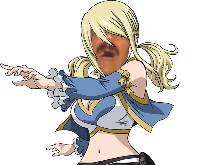 Sticker lucy issou risitas natsu fairy tail magie bullshit blonde main doigt