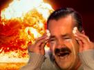 Sticker risitas explosion atome feu incendi pleure mouchoir accident gaz brulure fin du monde jesus