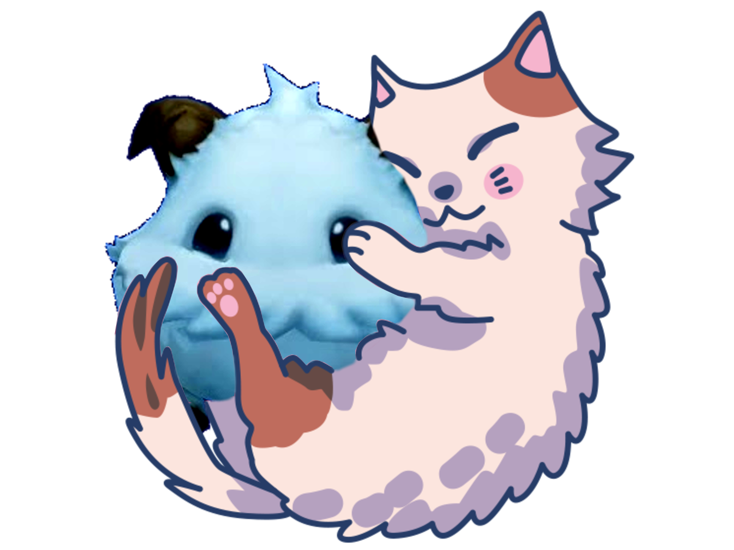 Sticker jvc league of legends lol fluffy chaton felin amour calin hugging bisou poro bebete animal fantastique legende poil fourrure mignon kawaii doigt rire drole tinnova