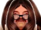 Sticker risitas fille meuf lunettes cheveux miroir inverse