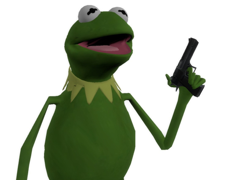 Sticker risitas gun kermit pistolet arme