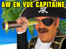 Sticker risitas pirate longue vue ile palmier mer rire aw capitaine
