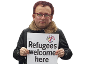 Sticker politic cuck gauchiste gauchiasse lgbt sjw insoumis france insoumise melenchon pancarte refugees welcome refugies migrant