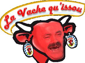 Sticker vache qui rit issou mascotte rouge rire risitas fromage boeuf marque
