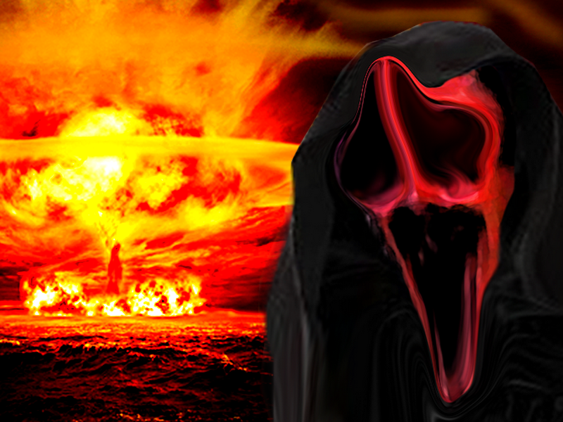 Sticker risitas enfer atome explosion mort fantome horrible laid moche enfer demon paranormal