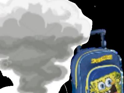 Sticker risitas papa fumee transformation ecolier cartable jaune bleu
