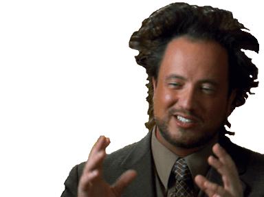 Sticker giorgio tsoukalos georgio theoricien du complotiste negationisme theorie des aliens fou cingle farfelue jesus christ pyramides vaisseaux spatial spatiaux