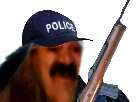 Sticker cheval gilbert policier police gendarmes crs arme a feu fusil animal animaux risitas mix