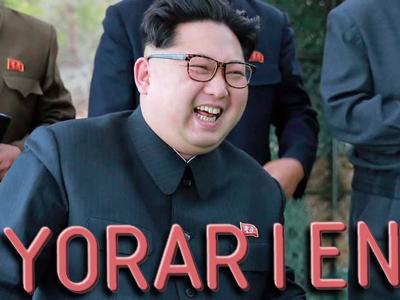 Sticker politic yorarien ww3 coree du nord cdn kim jong un missile bombe nucleaire rire guerre atome