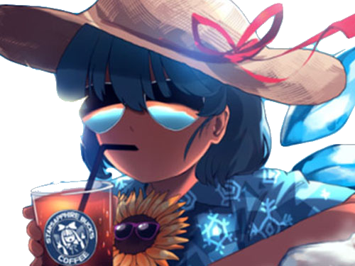 Sticker kikoojap cirno touhou lunette soleil ete chaud boisson boire chapeau paille chemise