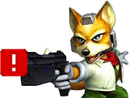 Sticker other starfox mc cloud super smash bros melee ssbm gamecube gc flingue gun pistolet laser blaster pointe vise tire menace police armee militaire gilbert arrestation ddb renard furry tinnova