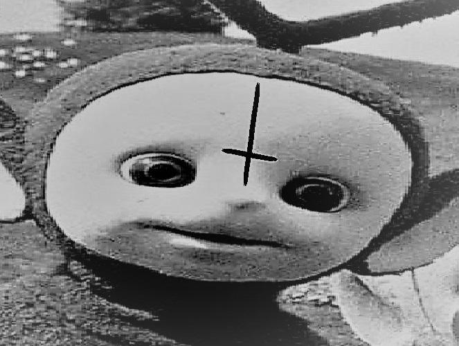 Sticker jvc teletubbies satan croix horreur culte demon hail