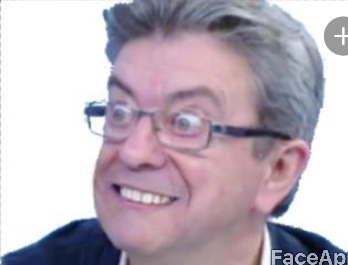 Sticker politic jean luc melenchon jlm 2017 etonne reaction gros yeux zoom gauchiste insoumis rire fou