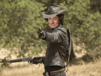 Sticker risitas jesus cow boy flingue western westworld revolver chapeau brigand voleur red dead rdr