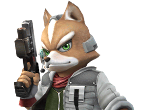 Sticker other starfox fox mc cloud super smash bros brawl ssbb wii determine pret fier sourire pistolet laser arme viseur flingue renard furry tinnova