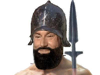 Sticker risitas lance piquier dark souls demons soldat guerrier garde police moyen age medieval barbe casque heaume jesus