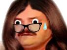 Sticker meuf en sueur angoisse tendue femme risitas travelo lunettes suspense goutte yeux ecarquilles gros grands surprenant