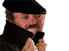 Sticker risitas issou cache cacher imper camouflage chance noir beret