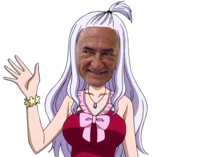 Sticker mirajane strauss kahn dsk fairy tail coucou main couette cheveux blancs meuf perversite juif juive israel