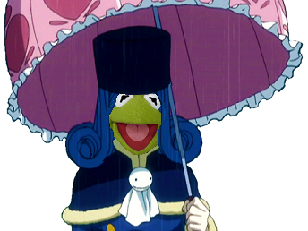 Sticker juvia kermit kikoojap parapluie fairy tail tristesse forever alone amour meuf muppet show grenouille frog