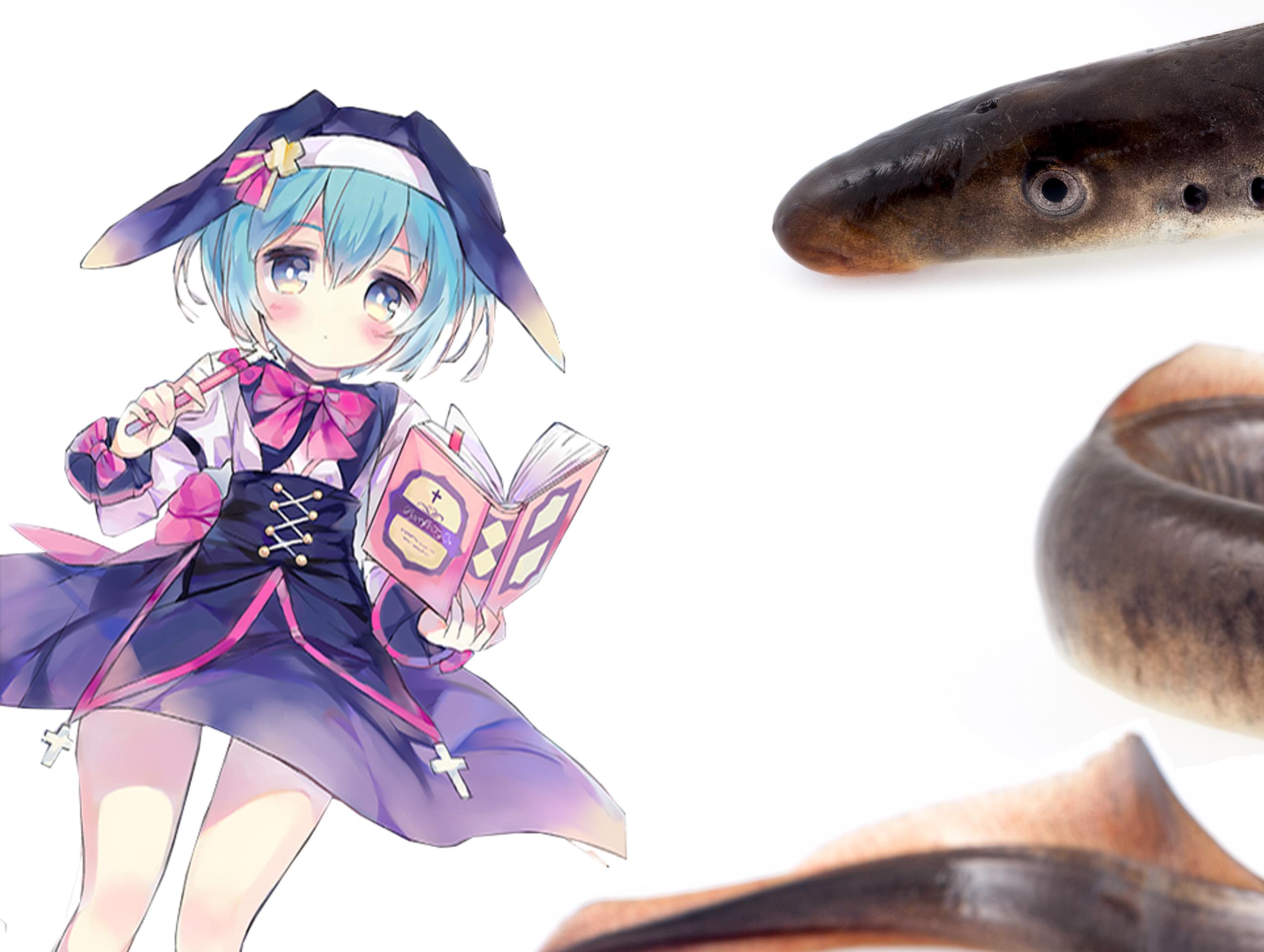 Sticker kikoojap anime fille lamproie relation hote parasite poisson