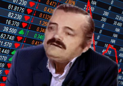 Sticker risitas bourse trader crise finance bitcoin crypto monnaie argent riche pauvre dette perte pari risque triste pleure depression deprime