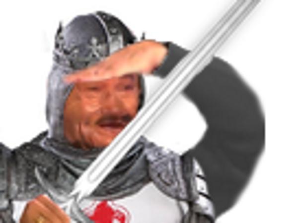 Sticker fusion soldat jesustas mix guerrier epee risitas jesus