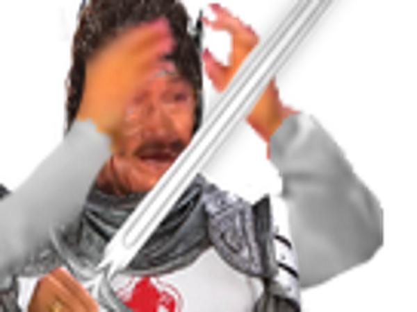 Sticker risitas fusion jesustas chevalier guerrier soldat epee wtf jesus riritas