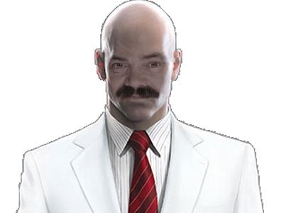 Sticker risitas hitman assassin tueur killer psychopathe costume costard cravate classe infiltration agent secret chauve crane lisse cancer blanc moustache