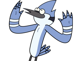 Sticker kikoojap mordecai siffle leve les bras ou bien les ailes
