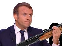 Sticker politic macron fusil chasse armee gendarme pompe carabine probleme projet solved